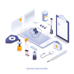 Flat color Modern Isometric Illustration design - Online Healthcare