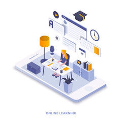 Flat color Modern Isometric Illustration design - Online Learning