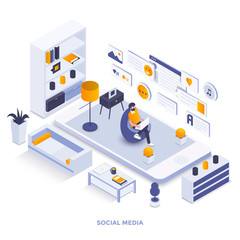 Flat color Modern Isometric Illustration design - Social Media