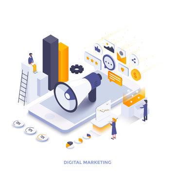 Flat color Modern Isometric Illustration design - Digital Marketing