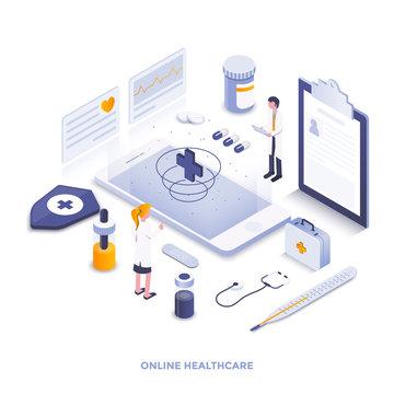 Flat color Modern Isometric Illustration design - Online Healthcare