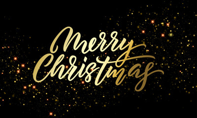 Merry Christmas golden light sparkles and gold calligraphy lettering. Vector Xmas holiday golden glitter or Christmas confetti on black background