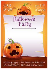 Happy Halloween editable poster with smiling and scared pumpkins with parchment on orange background with bats. Happy Halloween party.