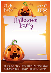 Happy Halloween editable poster with angry and scared pumpkins with parchment on orange background with bats. Happy Halloween party.