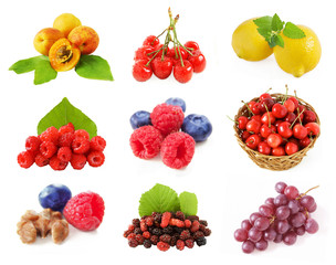 fruits set isolated on white background, sherries, raspberries, lemon, apricots, grapes, nuts, blueberries, mulberry