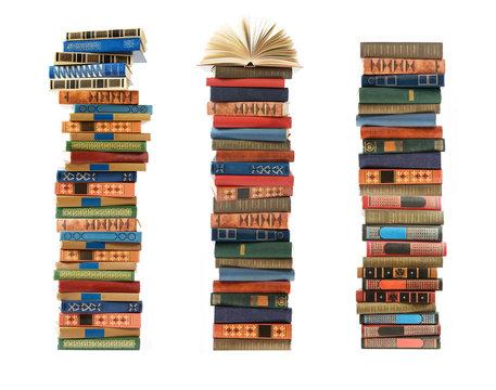 many book pile closeup