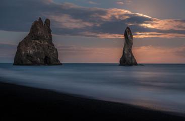 Reynisdrangar Sea stacks in Monnlight, Vík, Iceland