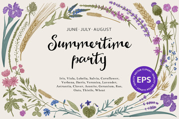 Summertime party. Floral  horizontal card. Flowers and plants of fields and forests. Vector vintage botanical illustration.