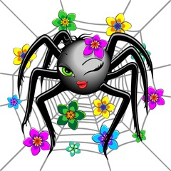 Spider Cute Wink Emoji Face Character