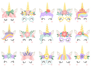 Unicorn face. Beautiful pony unicorns faces, magic horn in rainbow flower wreath and cute eyelashes vector illustration set