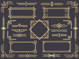 Art deco line border. Modern arabic gold frames, decorative lines borders and geometric golden label frame vector design elements Wall mural