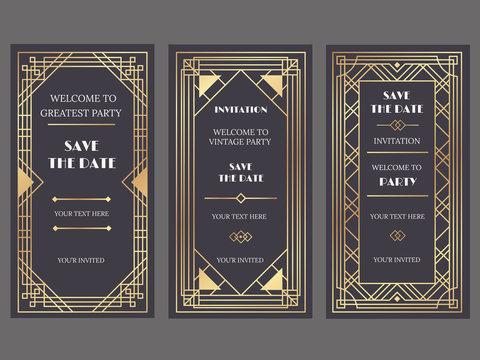 Art deco art banner. Fancy party event invitation, glamour golden retro vogue pattern and gold frames vector banners illustration set