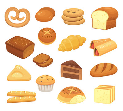 Cartoon bread icon. Breads and rolls. French roll, breakfast toast and sweet cake slice. Bakery products vector icons set