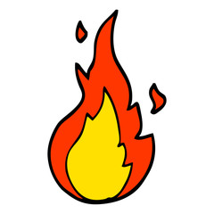 hand drawn doodle style cartoon flame symbol