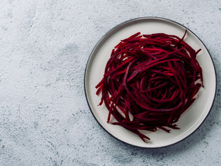 Raw beetroot noodles or beet spaghetti