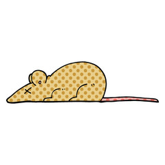 comic book style cartoon dead rat