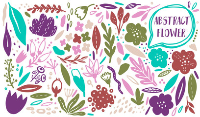 Vector Flower plant set. Abstract plain natural botany. Silhouette hand drawn style. Modern design element.