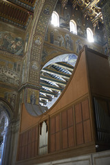 Monreale, Italy - September 11, 2018 : Monreale cathedral organ