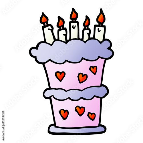 Vector Gradient Illustration Cartoon Birthday Cake