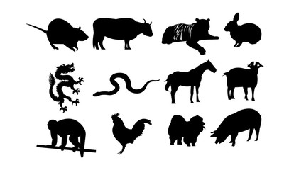 Chinese zodiac astrology signs, isolated on white background