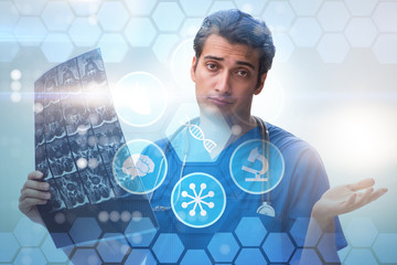 Doctor looking at x-ray image in telehealth concept