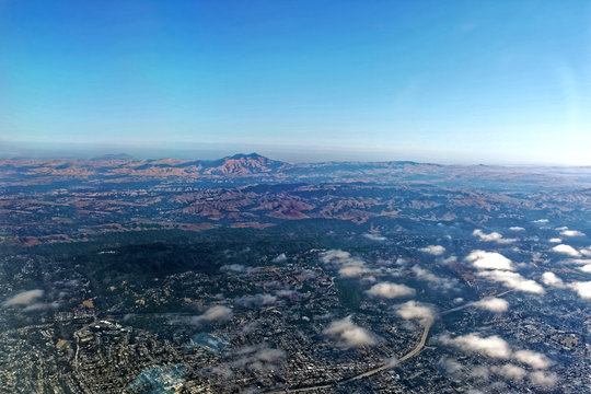 Aerial view of California's San Joaquin Valley with Mt. Diablo in background.