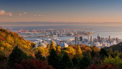 Kobe skyline cityscape during sunset, Japan