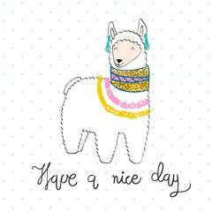 Hand drawn card with cartoon cute llama.