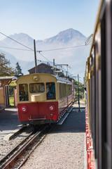 Old passenger train on his way to Schynige Platte from Interlaken