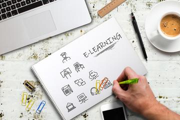 Hand zeichnet Komponenten modernen Lernens auf einen Zeichenblock am Arbeitsplatz