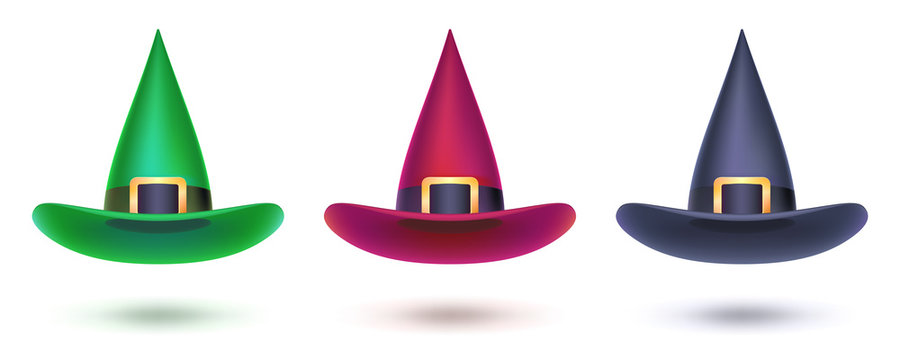 Set of witch hat. Colored design elements for Halloween events, 3d illustration. Vector halloween symbol isolated on white for covers, leaflets, banners