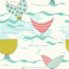 Vector seamless pattern with a mermaid tails.