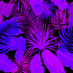 Tropical jungle palm leaves seamless pattern, neon colors