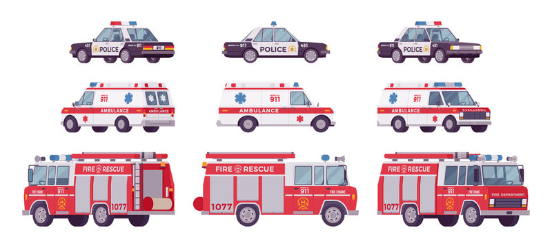 Police car, ambulance, fire truck set