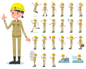 flat type helmet worker women_emotion