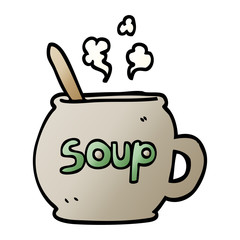 vector gradient illustration cartoon cup of soup