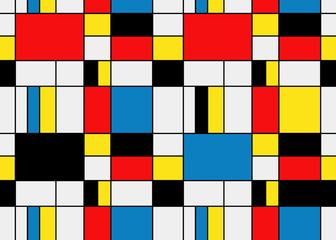 Colorful background in mondrian style. Vector illustration for your graphic design.