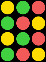 Red, green and yellow circles seamless pattern on black background