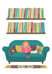 Little girl reads book on sofa on white background. Education, reading, literature concept. Original vector illustration.