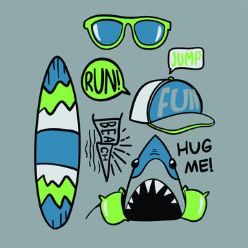 Hand drawn shark vector design for t shirt printing