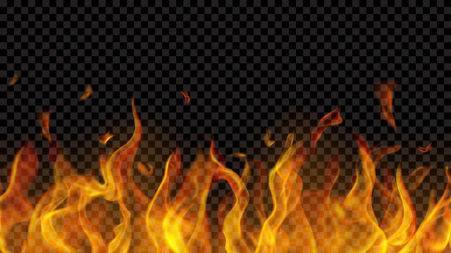 Translucent fire flame with horizontal seamless repeat on transparent background. For used on dark backgrounds. Transparency only in vector format