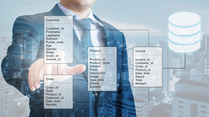 Double exposure of professional businessman system analysis design and drawing database table with futuristic background Wall mural