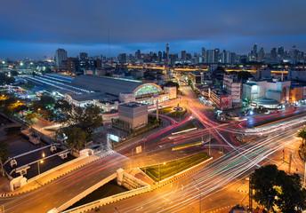 Cityscape view of Bangkok Railway Station or Hua Lamphong Railway Station at night, Thailand