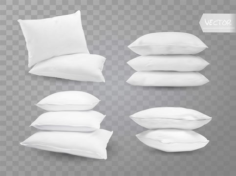Realistic white bed room rectangle pillows side en top view combinations mockup set transparent background vector illustration
