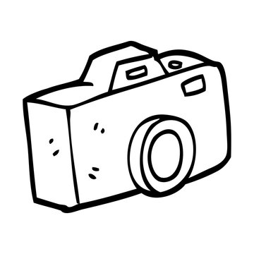 black and white cartoon camera