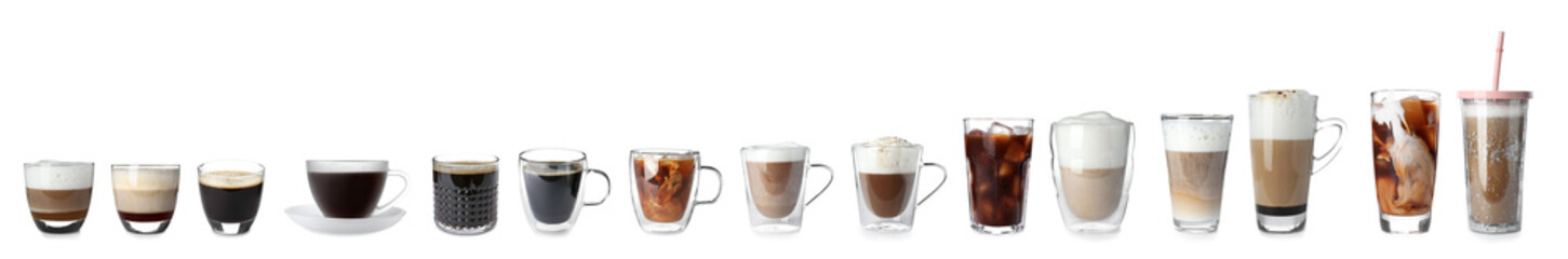 Foto auf Acrylglas Kaffee Set with different types of coffee drinks on white background