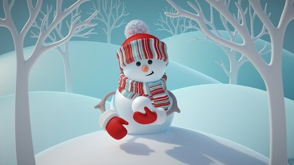 3d render, cute funny snowman wearing red hat and scarf, holding snowball, standing in snowy forest, winter Christmas background, New Year greeting card, festive character
