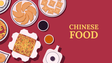Set of Chinese food. Chinese cuisine dishes. Top view. Banner, flyer or poster template. Vector illustration in flat style.