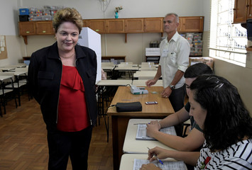 Brazil's former president and senate candidate Dilma Rousseff of the leftist Workers Party (PT) casts  her vote, in Belo Horizonte