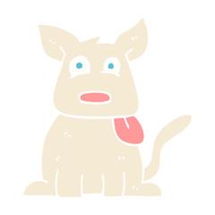 flat color illustration cartoon happy dog